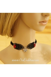 Lady Punk Devil Invitations Lace Black Lolita Necklace
