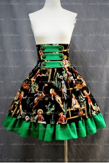 Green Printing and Black Flouncing Hem Girls Sweet Lolita Skirt