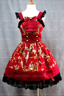 Lolita Sweet Popular Red Cotton Square Neck Cap Sleeve Dress