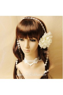 Fairy White Floral Lady Short Lace Lolita Necklace