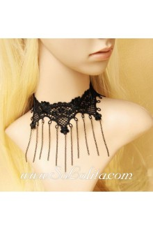 Lady Vampiric Lace Short Clavicle Chain Lolita Necklace