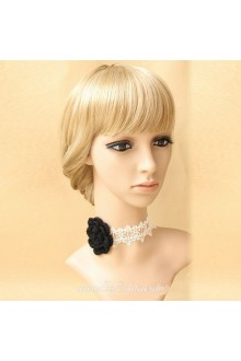 White Collar Short Affixed Neck Wool Floral Lolita Necklace