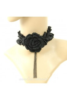 Black Charming Fringed Floral Collarbone Lolita Necklace