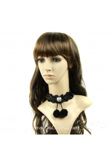 Black Vintage Short Lolita Necklace