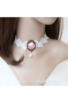 Bridal Lace White Floral Lolita Necklace