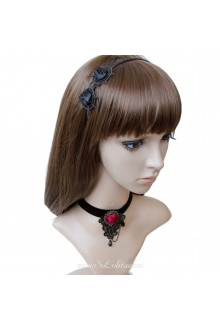 Punk  Stylish Lace Black Lolita Necklace