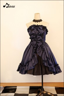 Dark Sapphire Blue Satin Strapless HMHM Lolita Gown Skirt