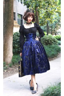 Lady In Darkness Dark Lines Fishbone High Waist Surface Spell Gothic Lolita Half Skirt