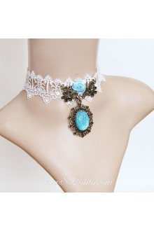 Lolita Aegean Sea Lace White Stylish Floral Necklace