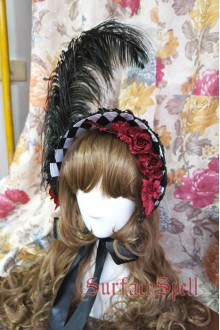Illusion Realizer Diamond Ostrich Feather Surface Spell Gothic Lolita Half Bonnet