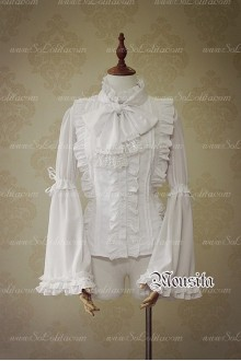 White Sweet Chiffon Gothic Long Sleeve Mousita Lolita Shirt