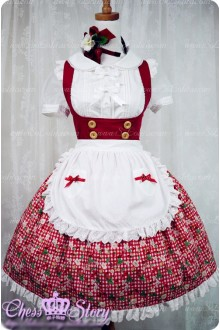 Sweet Cotton Summer Cherries Strawberry Chess Story Lolita JSK