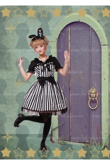 Sweet Cotton Miss Bunny White Black Chess Story Lolita JSK Dress