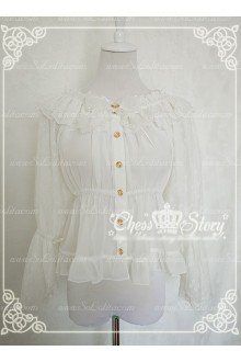 Sweet Chiffon Spring Lyrics Le Printemps Long Sleeves Chiffon Chess Story Lolita Blouse
