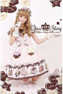Sweet Cotton Chocolate Party Chess Story Lolita OP Dress