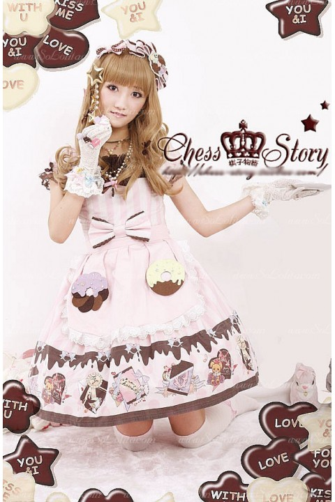 682f2aa1d2d7 Sweet Cotton Chocolate Party Chess Story Lolita OP Dress
