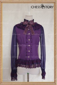 Sweet Chiffon Doll Theater Long Sleeves Purple/Black Chess Story Lolita Blouse