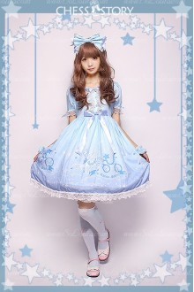 Sweet POLYESTER Dreamy Starry Night Print Chess Story Lolita OP Dress