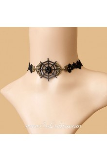 Lolita Punk Lace Black Spiderweb Lady Necklace
