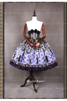 Sweet Steam Band High Waisted Fishbone Classical Puppets Lolita Half Skirt SK