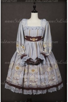 Chiffon Royal Carousel Lantern Sleeve Classical Puppets Lolita OP Dress