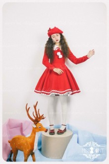 Sweet Woolen Little Red Riding Hood Fairy Tale Lovely Lolita Dress