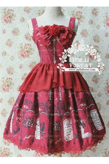 Sweet Witch cat and Lin Qin Tree Milu Forest JSK Lolita Dress