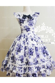 Sweet blue and white porcelain Print Milu Forest JSK Lolita Dress