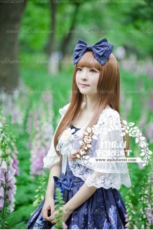 Sweet white Flower Print Lace Knot Milu Forest JSK Lolita Coat