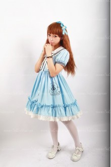 Sweet Cotten Original Print Navy Style Souffle Song Lolita OP