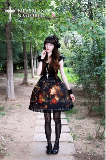 Sweet Choosing Flower Girl Souffle Song Lolita Painting Style Retro Printing Eyelash Lace OP