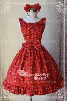 Red Cotten Sweet Magic Tea Party Christmas Gift JSK Lolita Dress