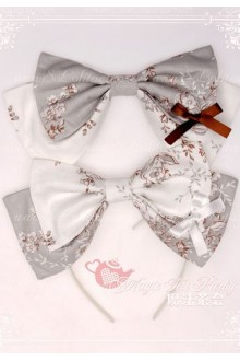 White and Grey Cotten Sweet Magic Tea Party Knot JSK Lolita Headband