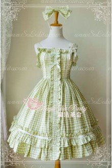 Grass Green Cotten Sweet Magic Tea Party Knot JSK Lolita Dress