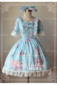 Blue Cotten Sweet Magic Tea Party Knot JSK Lolita Dress