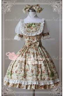 Cotten Sweet Magic Tea Party Flower Print Knot JSK Lolita Dress
