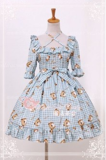 Cotten Sweet Magic Tea Party Summer Little Bear OP Print Knot Lolita Dress