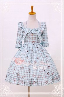 Cotten Sweet Magic Tea Party Little Bear OP Print Knot Lolita Dress