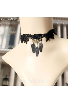 Lolita Punk Blooded Queen Lace Black Necklace