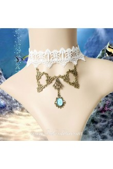 Lolita White Little Mermaid Lace Pendant Necklace