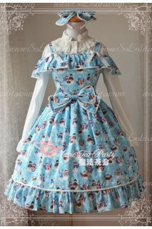 Sweet Cotten The Little Snowman Print Ball Magic Tea Party Lolita JSK