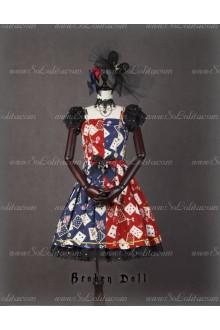 Broken Doll Poker Face Red And Blue Splicing Classical Puppets Dress