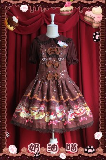 Infanta Sweet Cream Cat Lolita Strap Dress
