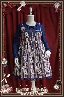 Infanta Rabbit & Poker High Waist Long Sleeves Lolita OP Dress