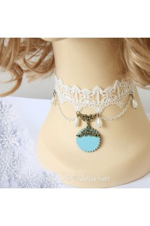 Lolita Little Freshness Lace White Pearl Bridal Wedding Dress Neecklace