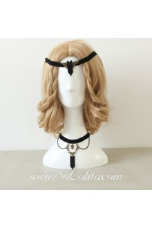Lolita Vintage Black Punk Lace Necklace