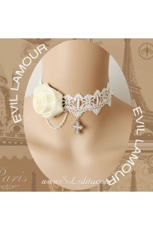 Lolita White Rose Chain Lace White Wedding Necklace
