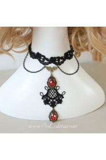 Lolita Ruby Lace Punk Vampiric Necklace