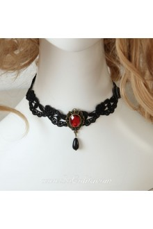 Lolita Stylish Lace Black Ruby Necklace
