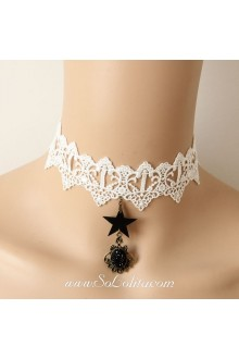 Lolita Punk White Star Lace Gem Necklace